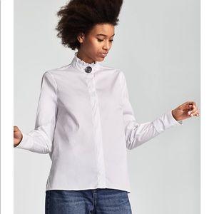 Zara Poplin Blouse with Button Detail EUC XS